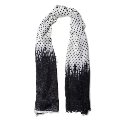 Designer Inspired-Black, Grey and Multi Colour Polka Dots Pattern Scarf (Size 180x90 Cm)