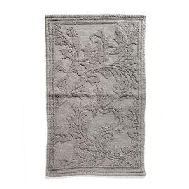 Bath Collection - 100% Cotton Grey Colour Floral Design Sculpted Bath Mat (Size 80X50 Cm)