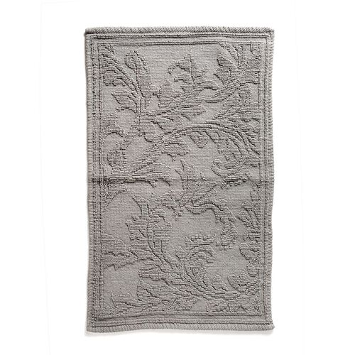 Bath Collection - 100% Cotton Grey Colour Floral Design Sculpted Bath Mat (Size 80X50 Cm)