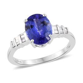 ILIANA 18K White Gold AAAA Tanzanite (Ovl 3.15 Ct), Diamond (SI/G-H) Ring 3.250 Ct.