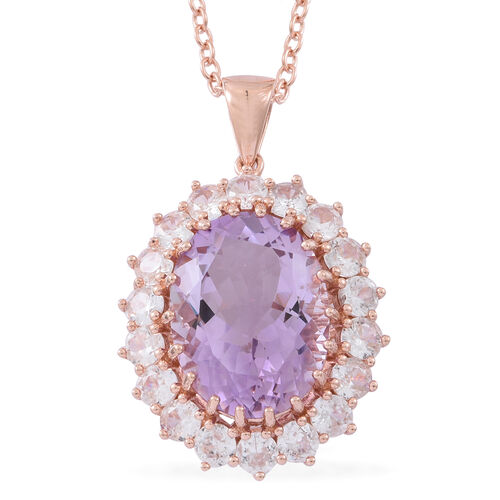 Rose De France Amethyst (Ovl 16.00 Ct), Natural White Cambodian Zircon Pendant with Chain in Rose Gold Overlay Sterling Silver 20.500 Ct. Silver wt 11.25 Gms.