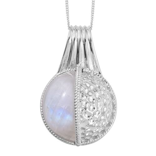 GP Rainbow Moonstone and Kanchanaburi Blue Sapphire Pendant With Chain in Platinum Overlay Sterling Silver 12.020 Ct.