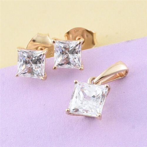 J Francis - 9K Y Gold (Princess) Solitaire Pendant and Stud Earrings (with Push Back) Made with SWAROVSKI ZIRCONIA