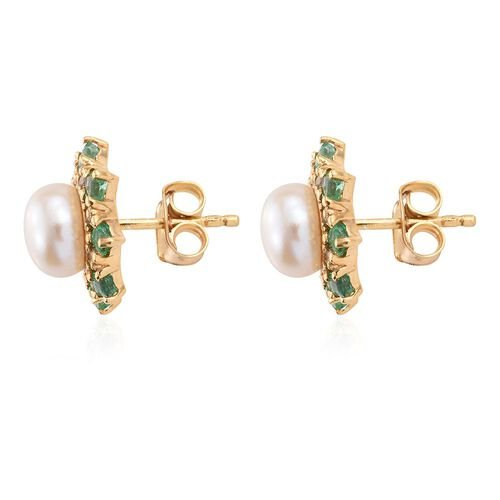 Pearl, Emerald and White Topaz Silver Halo Stud Earrings with Push Back in Gold Overlay