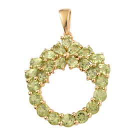 Preview Auction-Hebei Peridot (Pear) Pendant in 14K Gold Overlay Sterling Silver 5.185 Ct.