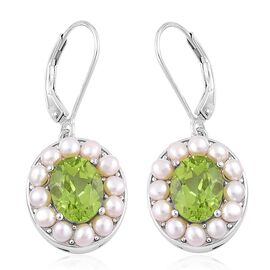 Super Auction- Designer Inspired AAA Hebei Peridot (Ovl), Fresh Water Pearl Lever Back Earrings in Rhodium Plated Sterling Silver 7.250 Ct. Silver wt 5.30 Gms.