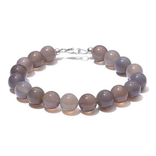 Grey Agate Ball Beaded Bracelet (Size 8) with Lobster Lock in Platinum Overlay Sterling Silver 103.540 Ct.