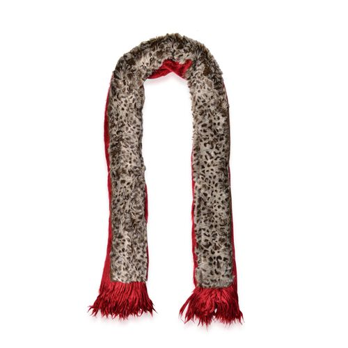 Leopard Pattern Red and Chocolate Colour Shawl with Fringes (Size 160x55 Cm)