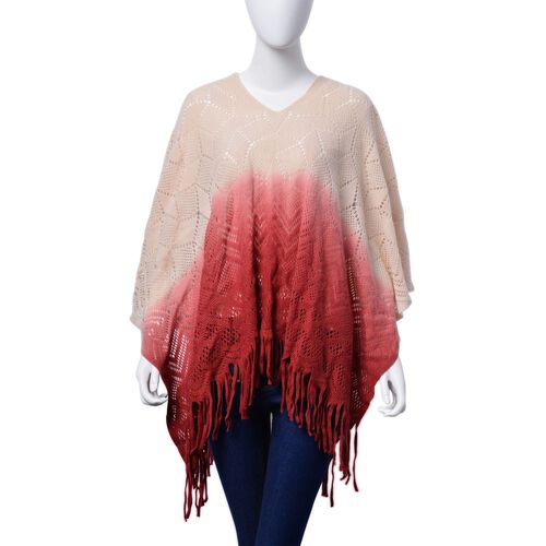 Designer Inspired Peach, Red and Multi Colour Poncho with Tassels (Size 95x60 Cm)