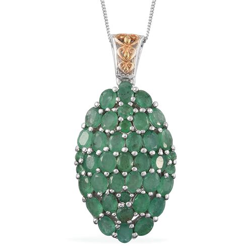Kagem Zambian Emerald (Ovl) Cluster Pendant with Chain (Size 18) in Platinum and Yellow Gold Overlay Sterling Silver 6.000 Ct. Silver wt. 6.50 Gms.
