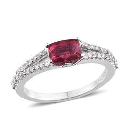 ILIANA 18K W Gold RARE AAAA Rubellite (Cush 1.00 Ct), Diamond Ring 1.350 Ct.