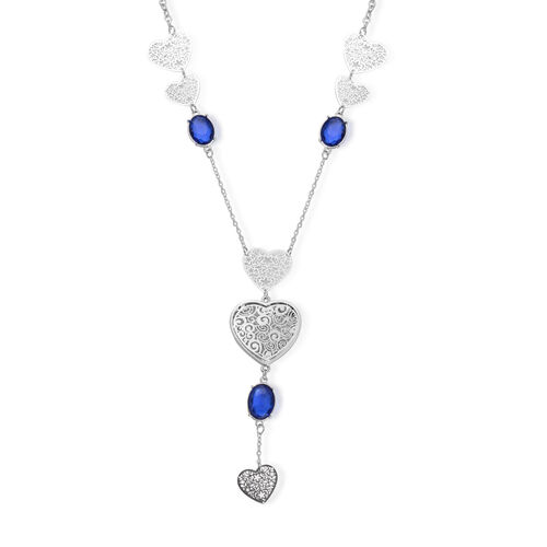 Blue Glass and White Austrian Crystal Necklace (Size 28) in Silver Tone