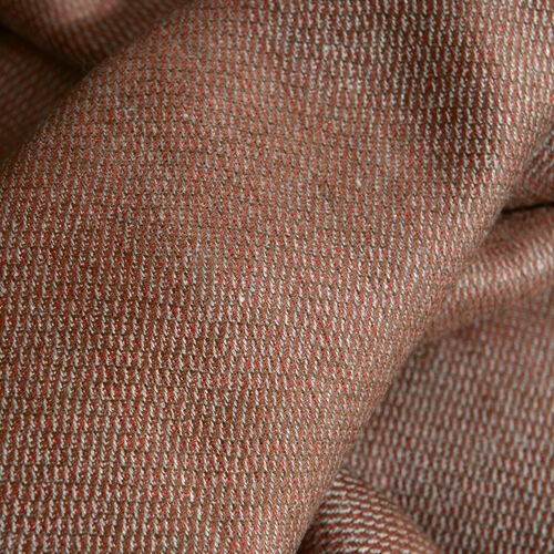 100% Fine Cashmere Wool - Hand Loomed Red and Chocolate Colour Reversible Shawl (Size 200x70 Cm)