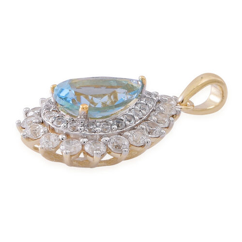 9K Y Gold Santa Maria Aquamarine (Pear 1.00 Ct), Natural Cambodian White Zircon Pendant 2.000 Ct.