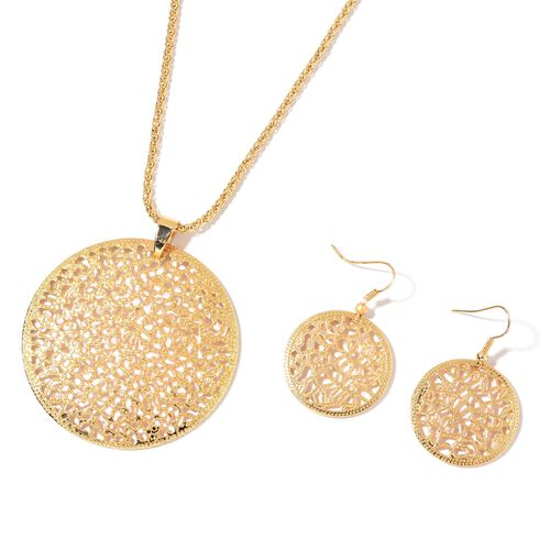 Lattice Circle Pendant with Chain (Size 28) and Hook Earrings in Yellow Gold Tone