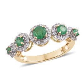 9K Yellow Gold 1.25 Ct AA Kagem Zambian Emerald Ring with Natural Cambodian Zircon