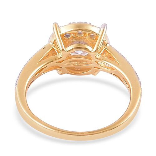 AAA Simulated White Diamond (Rnd) Ring in Yellow Gold Overlay Sterling Silver