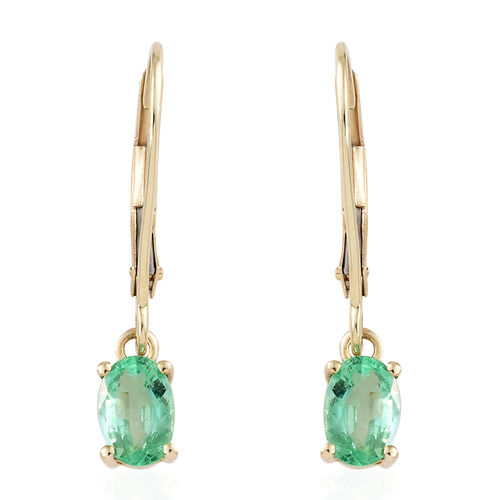 Colombian Emerald 9K Gold Solitaire Drop Earrings 0.90 Ct with Gold Lever Backs