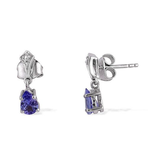 Tanzanite (0.75 Ct) Platinum Overlay Sterling Silver Earring
