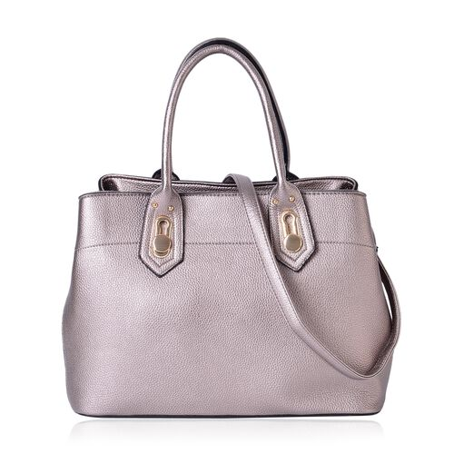 Grey Colour Tote Bag with External Zipper Pocket and Removable Shoulder Strap (Size 36.5X26.5X19 Cm)