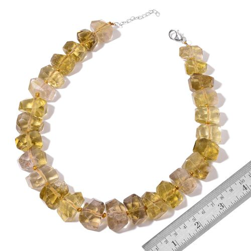 Lemon Quartz Necklace (Size 18 with 2 inch Extender) in Rhodium Plated Sterling Silver 830.000 Ct.