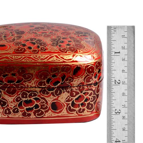 Home Decor - Hand Crafted Red Paper Mache Jewellery Box
