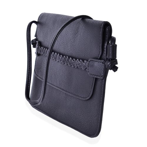 Black Colour Crossbody Bag with Shoulder Strap (Size 25x17 Cm)
