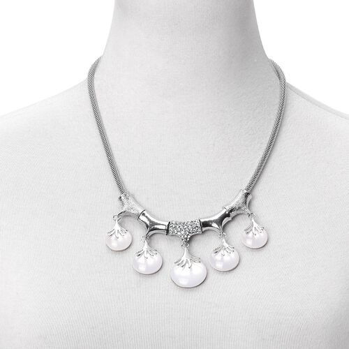 Designer Inspired - White Austrian Crystal BIB Necklace (Size 20 with 2 inch Extender) in Silver Tone