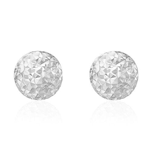 JCK Vegas Collection 9K White Gold Diamond Cut Ball Stud Earrings (with Push Back)