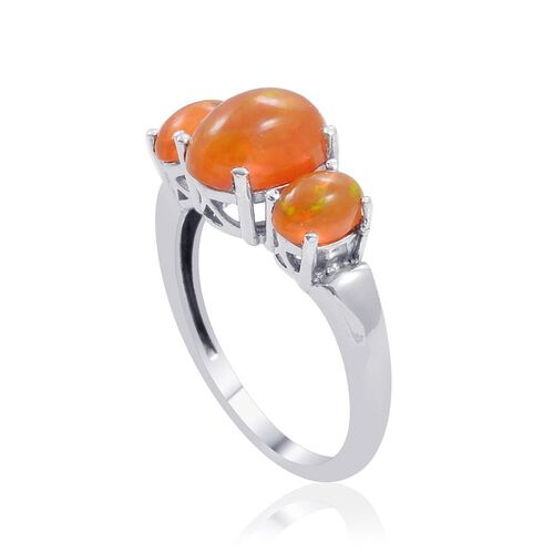Orange Ethiopian Opal (Ovl 1.50 Ct) 3 Stone Ring in Platinum Overlay Sterling Silver 2.000 Ct.