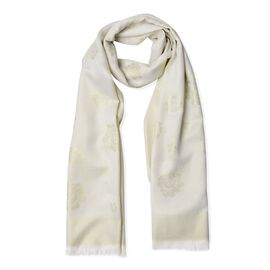 Cream and Golden Colour Rose Pattern Scarf (Size 180x75 Cm)