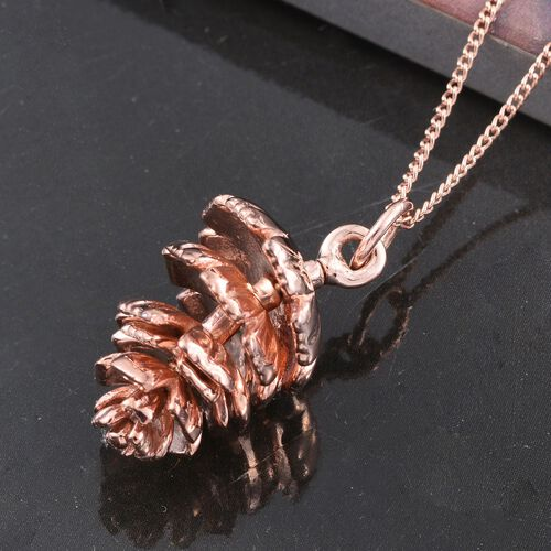 Pinecone Silver Pendant with Chain in Rose Gold Overlay, Silver wt 4.33 Gms.
