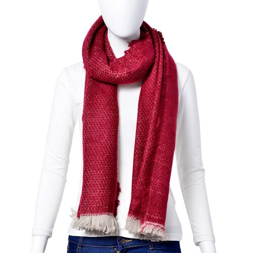 Red and White Colour Chain Pattern Scarf with Short Tassels (Size 180x65 Cm)