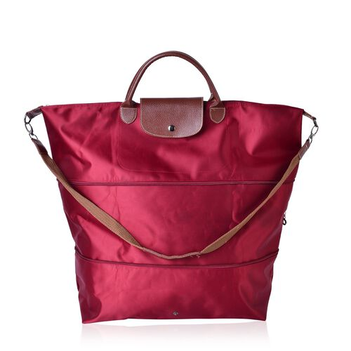 Designer Inspired- Red Colour Foldable Travel Bag with Shoulder Strap (Size 58x52x42x21 Cm)