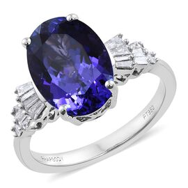 RHAPSODY 950 Platinum AAAA Tanzanite ( 5.81 Ct) Ring with VS E-F Diamond ( 0.39 Ct ), Platinum Wt 6.30 Gm
