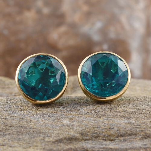Capri Blue Quartz (Rnd) Stud Earrings (with Push Back) in 14K Gold Overlay Sterling Silver 8.250 Ct.