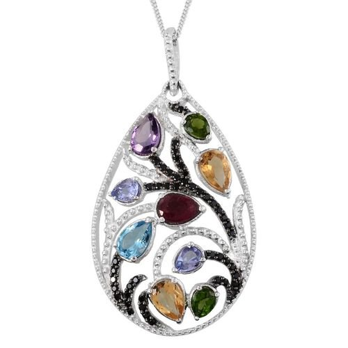GP African Ruby (Pear 0.60 Ct), Electric Swiss Blue Topaz, Citrine, Lusaka Amethyst, Tanzanite, Russian Diopside and Multi Gem Stone Pendant With Chain in Platinum Overlay Sterling Silver 3.000 Ct.