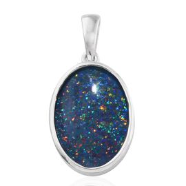 AAA Rare Size Australian Boulder Opal (Ovl) Solitaire Pendant in Platinum Overlay Sterling Silver 6.250 Ct.
