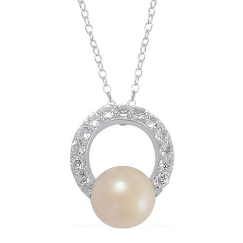Japanese Akoya Pearl (Rnd), White Topaz Pendant With Chain in Rhodium Plated Sterling Silver