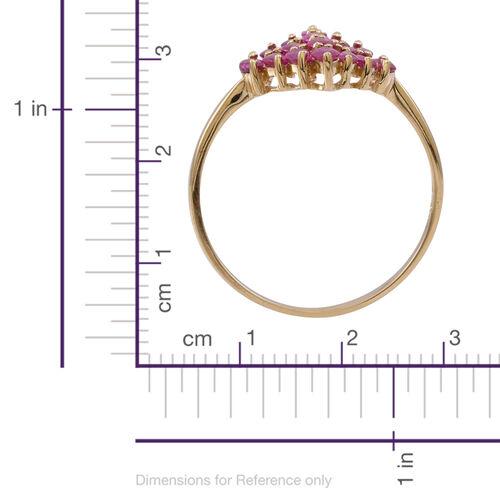 9K Y Gold Burmese Ruby (Mrq) Cluster Ring 3.000 Ct.
