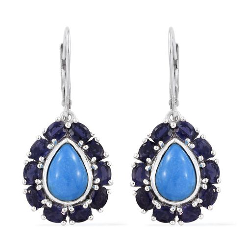 Ceruleite (Pear), Iolite Lever Back Earrings in Platinum Overlay Sterling Silver 5.250 Ct.