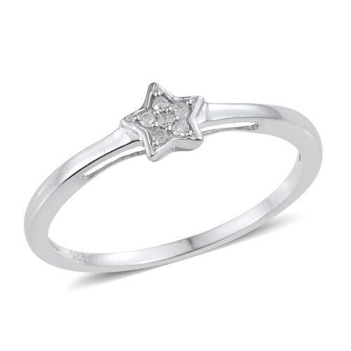 Diamond (Rnd) Star Stacker Ring in Platinum Overlay Sterling Silver