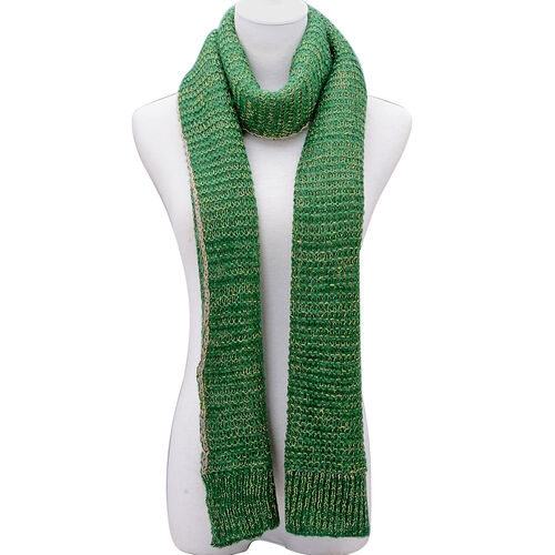 Green Colour Winter Knitted Scarf (Size 240x40 Cm)