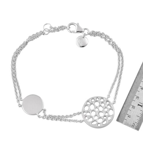 RACHEL GALLEY Rhodium Plated Sterling Silver Lattice Circle Bracelet (Size 8), Silver wt. 8.37 Gms.