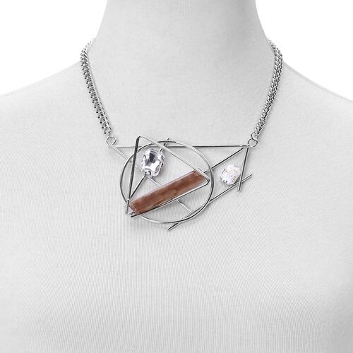 Simulated Smoky Quartz and Simulated White Diamond Geometric Necklace (Size 20 with 1.5 inch Extender) in Silver Tone