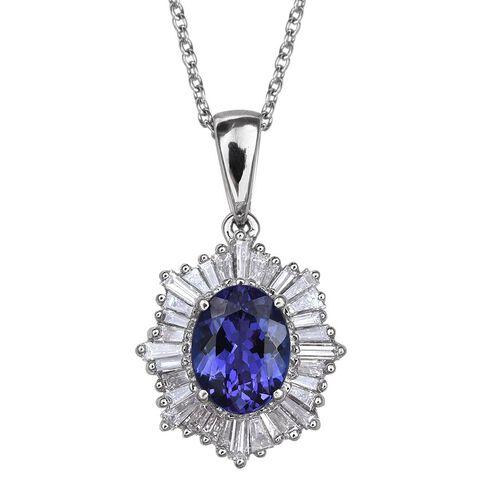 RHAPSODY 950 Platinum AAAA Tanzanite (Ovl 2.00 Ct), Diamond (VS/E-F) Ballerina Pendant With Chain 3.000 Ct.
