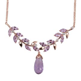 Kimberley AAA Rose De France Amethyst and Natural Cambodian Zircon Necklace (Size 18) in Rose Gold Overlay Sterling Silver 21.750 Ct.