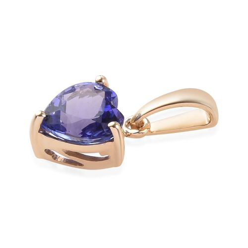 9K Yellow Gold 1.20 Ct AA Tanzanite Solitaire Heart Pendant