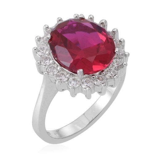 ELANZA AAA Simulated Pink Sapphire (Ovl), Simulated Diamond Ring in Rhodium Plated Sterling Silver