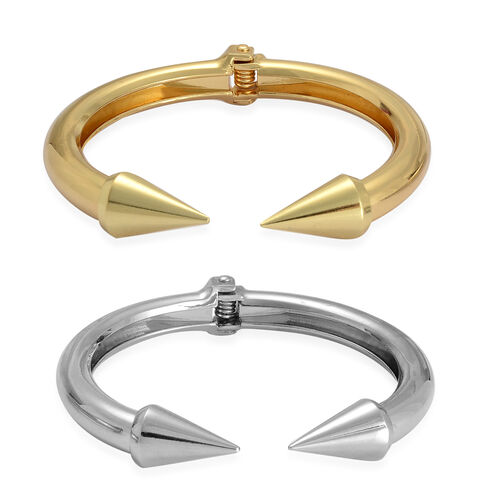 Set of 2 - Cuff Bangle in Yellow Gold and Silver Tone (Size 7.50)